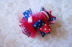 4th of July---Hair Bow---MINI Funky Fun Over the Top Bow---July fourth--Red, White, Blue on Etsy, $5.99