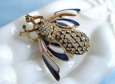 Ciner Enamel Bee Brooch, Winged Bug Insect Fly Brooch, Blue White Wings, Signed Ciner by GemParlor on Etsy