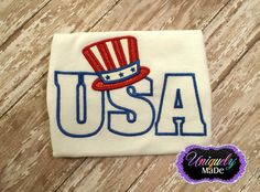 USA with Hat Applique Shirt  Independence Day by UniquelyMaDe02