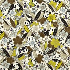 Forest Panda Brown by Cosmo Textiles Upholstery Fabric For Chairs, Brisbane Australia, Cork Fabric, Voodoo, Panda, Rabbit, Textiles, Quilts, Brown