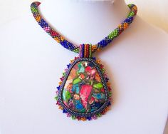 Bead Embroidery Necklace Pendant Beadwork with Rainbow Sea Jasper and Pyrite - SUMMER TIME - Summer collection