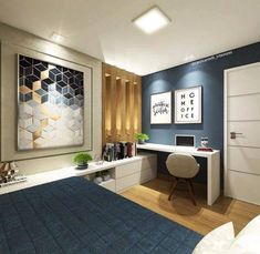 24 Ideas Home Office Guest Room Layout Bedrooms For 2019 Home Office Design, Home Office Decor, Home Interior Design, Lobby Interior, Design Room, Deco Design, Home Bedroom, Modern Bedroom, Bedrooms