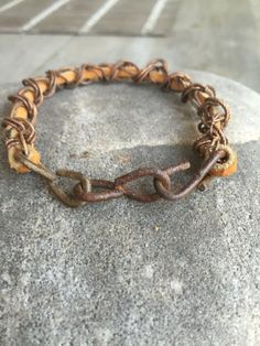 Father's Day - Masculine Leather and Chain Bracelet by simplepleasurestx