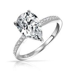 A Perfect 3.2CT Pear Cut Russian Lab Diamond Engagement Ring