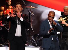"Robin Thicke and T.I. perform on ""The GRAMMY Nominations Live!! — Countdown To Music's Biggest Night"" on Dec. 6 in Los Angeles"