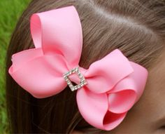 Pink Hair Bow Rhinestone Gift for Girls by stinkncutemj on Etsy