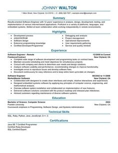 Software Engineering Resume 13 Software Engineer Resume Samples  Riez Sample Resumes  Riez