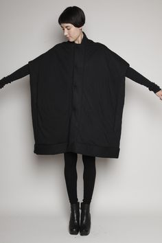 Rick Owens Lilies Quilted Sail Coat (Black)