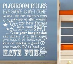 PLAYROOM RULES FOR YOUR CHILD'S ROOM DESIGN 2 WALL ART STICKER SMALL VINYL DECAL