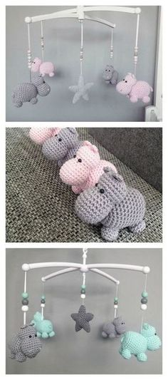 Crochet Baby Patterns Crochet Hippo Animal Baby Mobile Free Pattern - Use these cute Hippo Amigurumi Crochet Patterns to create wonderful stuffed animals with enough unique shape to make them instant favorites with children. Crochet Hippo, Cute Crochet, Crochet Animals, Crochet Dolls, Knit Crochet, Crotchet, Easy Crochet, Crochet For Baby, Crochet Rabbit