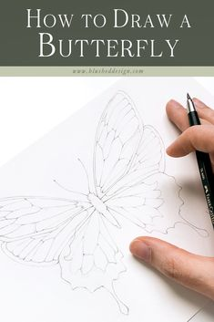 Loose Watercolor Peony - Watercolor Tutorial for Beginners — Blushed Design Butterfly Drawing, Butterfly Watercolor, Watercolor Peony, How To Draw Butterfly, Simple Butterfly, Butterfly Painting, Watercolor Leaves, Watercolor Drawing, Flower Drawing Tutorials