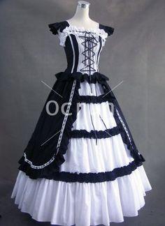 Klassiker Schwarz and Weiß Vintage Gothic viktorianischen Kleid