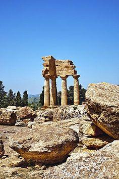 Templo de Dioscure, Valle de los Templos en Agrigento, Sicilia, Italia