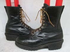 Red Wing Black Leather Lace Logger Fire Fighting Boots Size 13 D Style 699 USA #RedWing #Work
