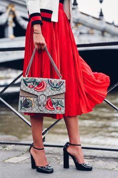 PARIS FASHION WEEK | gucci bag | gucci shoes | red pleated skirt | viva luxury fashion blog
