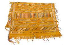 "Handwoven Moroccan Throw Rug, 3'2"" x 4'10""  Wool"