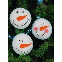 dIY ornaments christmas snowmen felt