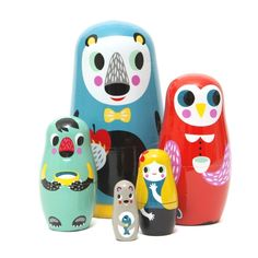 Into the Woods nesting dolls, designed by Helen Dardik for Petit Monkey. This colourful matryoshka is hand painted and handmade which makes every set unique. Supergirl, Helen Dardik, Modern Toys, Matryoshka Doll, Baby Kind, Wooden Decor, Creative Play, Wooden Dolls, Toddler Gifts