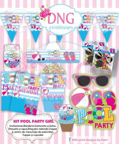$100 $6  Kit Imprimible Pool Party Girl -Albercada  - Invitaciones Pool Party