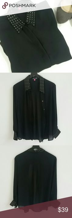 SALE! Vince Camuto Black Sheer Embellished Blouse Excellent condition, no flaws! Stunning sheer blouse with buttons. Gold tack embellishments on the collar and cuffs!  Offers are welcome!  **Bundles receive 20% off + a free gift!** Vince Camuto Tops