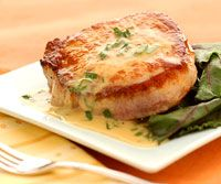 25-Minute Pork Diane ~ Worcestershire sauce, Dijon mustard, and lemon add zest to this tender, juicy pork loin recipe, which has only 131 calories and 1 gram of carb per serving!