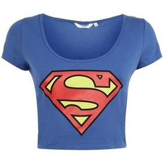 Blue Superman top ❤ liked on Polyvore