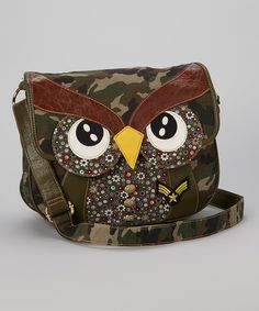 Take a look at this Green Owl Messenger Bag by Chateau Designs on #zulily today!