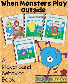 When Monsters Play Outside Book - It's Free! : File Folder Games at File Folder Heaven - Printable, hands-on fun! Classroom Helpers, Classroom Rules, Classroom Posters, Classroom Themes, Classroom Chants, Classroom Organization, Playground Rules, Playground Safety, Beginning Of School