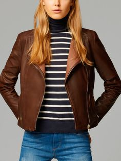 CONTRASTING LEATHER JACKET