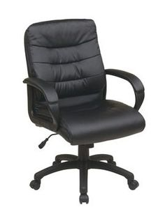 d6d39afb7cf Mid Back Faux Leather Executive Chair with Padded Arms Star Work
