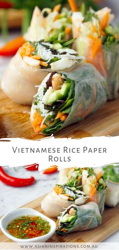 We're sharing here an easy and tasty Vietnamese recipe where you'll never go wrong with pork, chicken, or just vegetables. Try this Vietnamese Rice Paper Rolls recipe. Recipe by Asian Inspirations. Healthy Appetizers, Healthy Recipes, Appetizer Recipes, Easy Vietnamese Recipes, Vietnamese Food, Rice Paper Recipes, Vietnamese Rice Paper Rolls, Rolls Recipe, Recipe Recipe