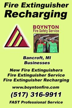 Fire Extinguisher Recharging Bancroft (517) 316-9911.. Local Michigan Businesses you have found the complete source for Fire Protection. Fire Extnguishers, Fire Extinguisher Service.. We're got you covered..