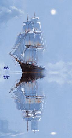 Ship Paintings, Landscape Paintings, Old Sailing Ships, Sailboat Painting, Ship Drawing, Boat Art, Fantasy Castle, Diy Canvas Art, Ship Art