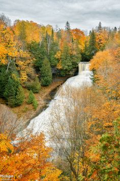 Laughing Whitefish Falls framed in Autumn Michigan Waterfalls, Framed Art Prints, Fine Art Prints, Waterfall Photo, State Of Michigan, Whitefish, Canvas Frame, Wander, Country Roads
