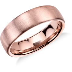 Modern in appeal this brushed 14k rose gold wedding band features a rounded interior for everyday comfort. In 14k Rose Gold (5.5mm).