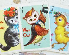 Great etsy shop! Animal Rummy Playing Cards, Vintage 1950's, By Whitman,  A Set Of 11 Cards in EXCELLENT Condition