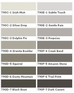 BEHR: Silver Drop, a neutral but adds a nice warm color to the room. Also loving Irish mist!