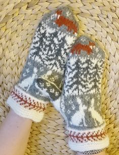 Ravelry: Fox and Hare mittens pattern by Anita Viksten Fox Pattern, Mittens Pattern, Fair Isle Knitting Patterns, Knitting Charts, Knit Crochet, Crochet Hats, Hand Warmers, Tricot