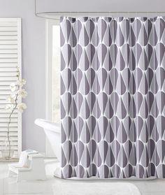 Lavendar Gray Embossed Fabric Shower Curtain Tear Drop Design VictoriaClassics Modern
