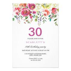 Pink Peach Flowers 30th Birthday Party Invitation - giftidea gift present idea number thirty thirtieth bday birthday 30thbirthday party anniversary 30th https://www.djs.durban