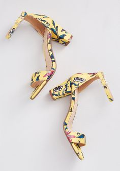 Restricted First to Flourish Floral Heel Yellow Floral | Floral Heels, Lace Heels, Ankle Strap Heels, Ankle Straps, Tropical Outfit, Yellow Heels, Burgundy Heels, Vintage Heels, Minimalist Shoes