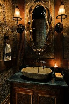 Rustic Bathroom that's totally at home in a log cabin.