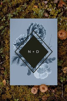 Stunning moody botanical Wedding Invitation by Sail and Swan Studio. The design features stunning florals in blue hues with a bold black diamond geometric shape. Petals of flowers fill the background. Botanical Wedding Invitations, Floral Invitation, Garden Wedding, Wedding Day, Vintage Floral, Black Diamond, Geometric Shapes, Swan, Florals