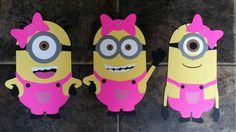 Girl Minion set of 3 Diecut Cardstock 11.5 by OffTheBoardsCrafting