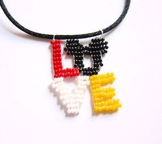 Mickey Mouse Ears Love Necklace Beaded Words Disney jewelry!