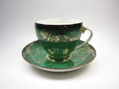 Unique Dark Green and Gold Royal Grafton Bone China by 123name123, $19.50