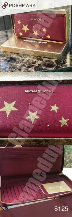 """Michael Kors ILLUSTRATION Gold Stars wallet Red Please see video below for more details!    Brand new Michael Kors Wallet with tags! It comes from a smoke free and pet free environment. Please message if you have any questions.  Michael Kors  Illustrated MK Logo Fly Away Travel Continental Wallet  Zip around disclosure  Three Interior zip pockets  Sixteen interior card slots  Signature logo print coated twill  Gold Stars illustrations  8.5"""" W x 1.25""""D x 4""""  Polyvinyl chloride/polyurethane…"""
