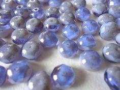 Czech Glass Beads Gemstone Donuts Rondelles Marbled by Snoochy, £1.70