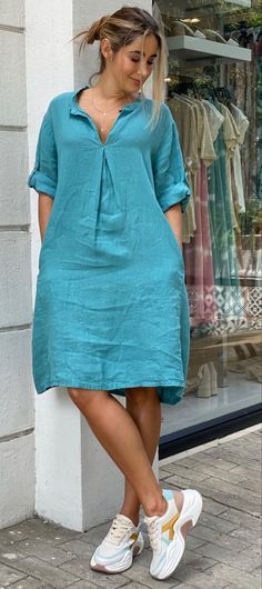Modest Dresses, Trendy Dresses, Simple Dresses, Fashion Dresses, Short African Dresses, Short Sleeve Dresses, Casual Indian Fashion, Over 60 Fashion, Frock Design
