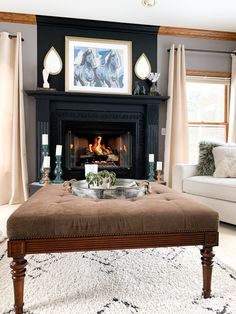 Oak Bedroom Furniture, Furniture Update, Furniture Slipcovers, Fireplace Trim, Living Room With Fireplace, Home Town Hgtv, Oak Trim, New Home Designs, Cool Rooms